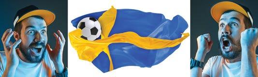 Το κολάζ για τις συγκινήσεις των οπαδών ποδοσφαίρου της Σουηδίας στραγγίζει και σημαιοστολίζει στο άσπρο υπόβαθρο διανυσματική απεικόνιση