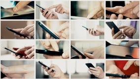 Το κολάζ των διαφορετικών ανθρώπων δίνει SMS στα smartphones φιλμ μικρού μήκους