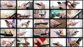Το κολάζ των διαφορετικών ανθρώπων δίνει SMS στα smartphones στοκ φωτογραφία με δικαίωμα ελεύθερης χρήσης
