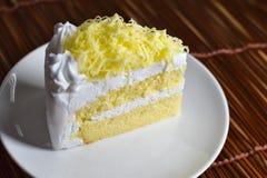 Το κομμάτι του κέικ με κτυπά την κρέμα και το ξυμένο κάλυμμα τυριών, selectiv Στοκ Φωτογραφίες