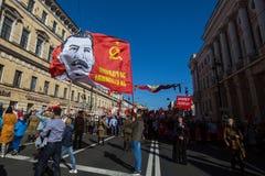 Το κομμουνιστικό κόμμα εμπλέκεται κατά τη διάρκεια του αθάνατου συντάγματος Μάρτιος δράσης κατά τη διάρκεια των εορτασμών ημέρας  Στοκ Εικόνα