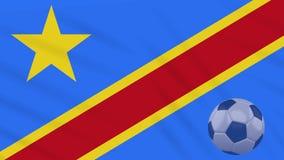 Το Κονγκό ο ΔΡ σφαίρα κυματισμού και ποδοσφαίρου σημαιών περιστρέφεται, βρόχος διανυσματική απεικόνιση