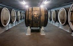 το κονιάκ κελαριών πλαισιώνει το δρύινο εκεί κρασί στοκ εικόνα με δικαίωμα ελεύθερης χρήσης