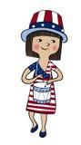 Το κορίτσι έντυσε στο ύφος αμερικανικών σημαιών με το τύμπανο Στοκ Εικόνες