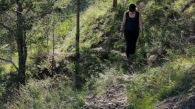 Το κορίτσι αναρριχείται επάνω στο λόφο Μια νέα γυναίκα πηγαίνει σε ένα δασικό ίχνος στα βουνά απόθεμα βίντεο