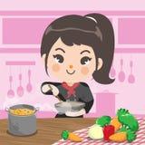 Το κορίτσι αρχιμαγείρων μαγειρεύει στη ρόδινη κουζίνα της με την αγάπη απεικόνιση αποθεμάτων