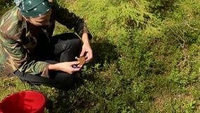 Το κορίτσι βρήκε ένα μανιτάρι στο δάσος απόθεμα βίντεο