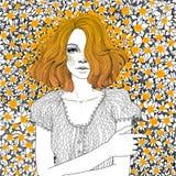 Το κορίτσι βρίσκεται σε ένα λιβάδι των πικραλίδων ελεύθερη απεικόνιση δικαιώματος
