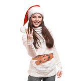 Το κορίτσι διασκέδασης στέκεται στο πουλόβερ Στοκ εικόνα με δικαίωμα ελεύθερης χρήσης
