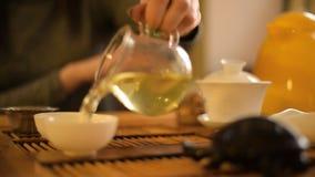 Το κορίτσι διοργανώνει μια τελετή της παρασκευής του πράσινου τσαγιού απόθεμα βίντεο
