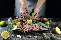 Το κορίτσι είναι διακοσμημένο με το πιάτο μαϊντανού με τα θαλασσινά Στοκ Φωτογραφίες