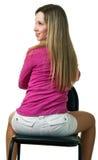 το κορίτσι εδρών κάθεται Στοκ Εικόνα