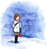Το κορίτσι εξετάζει το μειωμένο χιόνι Στοκ Εικόνα