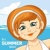 Το κορίτσι και η θάλασσα επίσης corel σύρετε το διάνυσμα απεικόνισης Στοκ Εικόνα