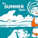 Το κορίτσι και η θάλασσα επίσης corel σύρετε το διάνυσμα απεικόνισης διανυσματική απεικόνιση