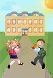 Το κορίτσι και το αγόρι πηγαίνουν στο σχολείο Στοκ φωτογραφία με δικαίωμα ελεύθερης χρήσης