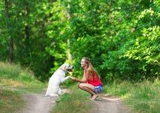 Το κορίτσι και το σκυλί έχουν καθίσει σε ένα δασικό μονοπάτι Στοκ Φωτογραφία