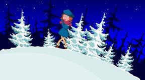 Το κορίτσι κινούμενων σχεδίων επάγωσε στο χειμερινό δάσος ελεύθερη απεικόνιση δικαιώματος
