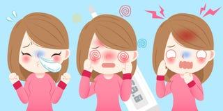 Το κορίτσι κινούμενων σχεδίων κρυώνει διανυσματική απεικόνιση
