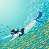 το κορίτσι κολυμπά με αναπνευτήρα Στοκ φωτογραφία με δικαίωμα ελεύθερης χρήσης