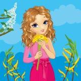 Το κορίτσι κρατά τα λουλούδια στην άνοιξη διανυσματική απεικόνιση