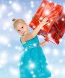 Το κορίτσι κρατά το κιβώτιο Στοκ φωτογραφίες με δικαίωμα ελεύθερης χρήσης
