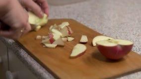 Το κορίτσι κόβει το μήλο στα μικρά κομμάτια απόθεμα βίντεο