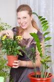 το κορίτσι λουλουδιών προσοχής παίρνει στοκ εικόνες με δικαίωμα ελεύθερης χρήσης