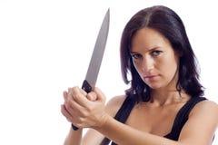 Το κορίτσι με ένα μαχαίρι Στοκ Φωτογραφία