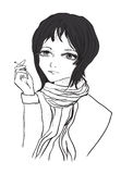 Το κορίτσι με ένα τσιγάρο σε ένα άσπρο υπόβαθρο στοκ εικόνα