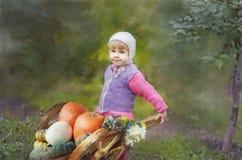 Το κορίτσι με μια συγκομιδή Στοκ Εικόνες