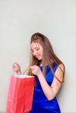 Το κορίτσι με τις αγορές Στοκ φωτογραφία με δικαίωμα ελεύθερης χρήσης