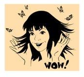 Το κορίτσι με τις πεταλούδες γύρω κυματίζει το thri χεριών Στοκ φωτογραφίες με δικαίωμα ελεύθερης χρήσης
