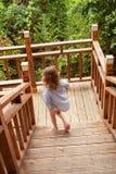 Το κορίτσι με τον μπαμπά συνεχίζεται σε μια ξύλινη σκάλα στα τροπικά βουνά στοκ εικόνα με δικαίωμα ελεύθερης χρήσης