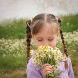 Το κορίτσι μυρίζει chamomile Στοκ Εικόνες