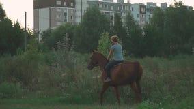 Το κορίτσι οδηγά ένα άλογο φιλμ μικρού μήκους