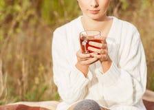 Το κορίτσι πίνει το τσάι στοκ φωτογραφία