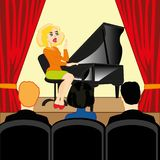 Το κορίτσι παίζει το πιάνο στο κοινός-δωμάτιο με το θεατή απεικόνιση αποθεμάτων