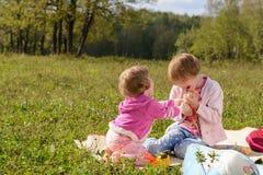Το κορίτσι παίρνει το παιχνίδι από την παλαιότερη αδελφή της Στοκ Εικόνες