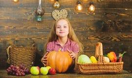 Το κορίτσι παιδιών κοντά στο σύνολο καλαθιών των φρέσκων λαχανικών συγκομίζει το αγροτικό ύφος Κορίτσι παιδιών που παρουσιάζει τη στοκ φωτογραφίες