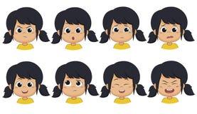 Το κορίτσι παρουσιάζει έκφραση όπως 0, έκπληκτος, κραυγή, φόβος, χαμόγελο, σκέφτεται διανυσματική απεικόνιση