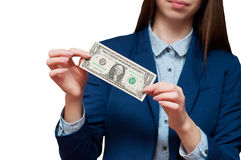 Το κορίτσι παρουσιάζει αμερικανικό λογαριασμό δολαρίων Στοκ Εικόνες