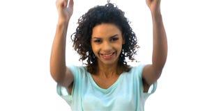 Το κορίτσι παρουσιάζει συγκινήσεις της χαράς απόθεμα βίντεο