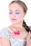 το κορίτσι πεταλούδων τη&n Στοκ φωτογραφία με δικαίωμα ελεύθερης χρήσης