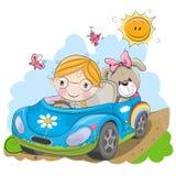 Το κορίτσι πηγαίνει στο αυτοκίνητο διανυσματική απεικόνιση
