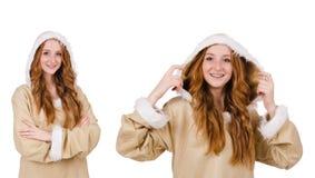 Το κορίτσι που απομονώνεται των Εσκιμώων στο λευκό Στοκ Φωτογραφία