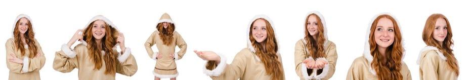 Το κορίτσι που απομονώνεται των Εσκιμώων στο λευκό Στοκ φωτογραφίες με δικαίωμα ελεύθερης χρήσης