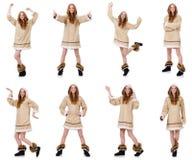 Το κορίτσι που απομονώνεται των Εσκιμώων στο λευκό Στοκ φωτογραφία με δικαίωμα ελεύθερης χρήσης