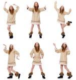 Το κορίτσι που απομονώνεται των Εσκιμώων στο λευκό Στοκ Εικόνες