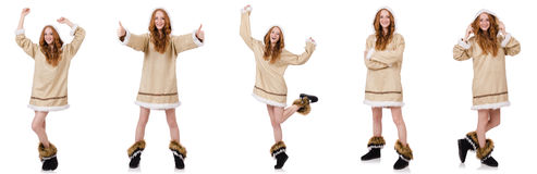 Το κορίτσι που απομονώνεται των Εσκιμώων στο λευκό Στοκ Εικόνα
